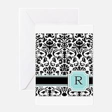 Letter R Black Damask Personal Monogram Greeting C