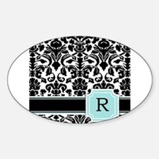 Letter R Black Damask Personal Monogram Bumper Stickers