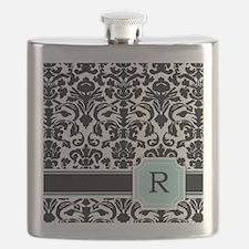 Letter R Black Damask Personal Monogram Flask