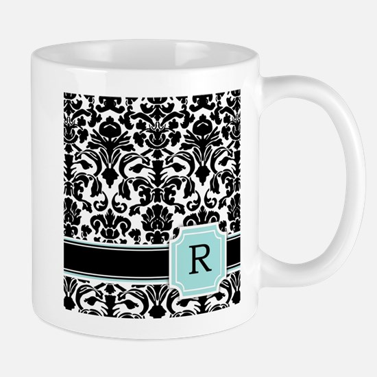 Letter R Black Damask Personal Monogram Mugs