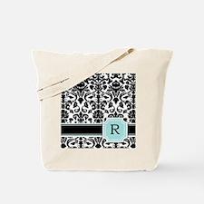 Letter R Black Damask Personal Monogram Tote Bag