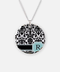 Letter R Black Damask Personal Monogram Necklace