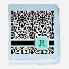 Letter R Black Damask Personal Monogram baby blank