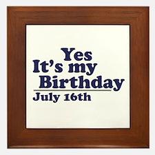 July 16 Birthday Framed Tile