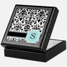 Letter S Black Damask Personal Monogram Keepsake B