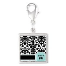 Letter W Black Damask Personal Monogram Charms