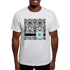 Letter W Black Damask Personal Monogram T-Shirt