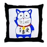 Maneki Neko - Japanese Lucky Cat Throw Pillow