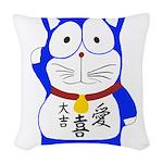 Maneki Neko - Japanese Lucky Cat Woven Throw Pillo