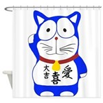 Maneki Neko - Japanese Lucky Cat Shower Curtain