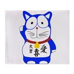 Maneki Neko - Japanese Lucky Cat Throw Blanket