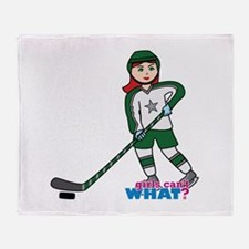 Hockey Player Girl Light/Red Throw Blanket
