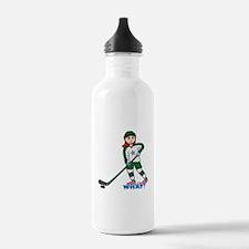 Hockey Player Girl Light/Red Water Bottle