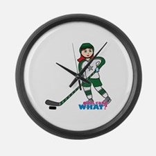 Hockey Player Girl Light/Red Large Wall Clock