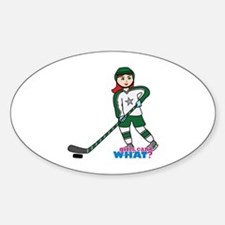 Hockey Player Girl Light/Red Decal