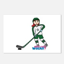 Hockey Player Girl Light/Red Postcards (Package of