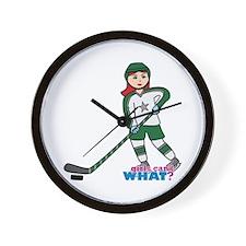 Hockey Player Girl Light/Red Wall Clock