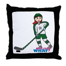 Hockey Player Girl Light/Red Throw Pillow