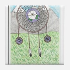 Cherokee Rose Dream Catcher Tile Coaster