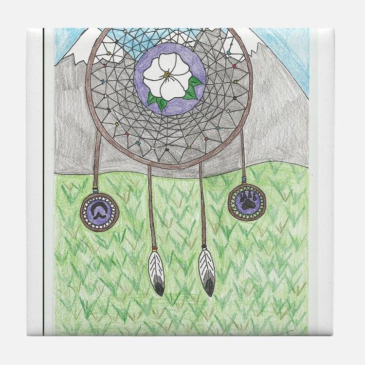 Cherokee Rose Dream Catcher Tile Coaster