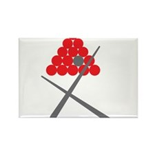 Snooker balls with cues grey and red Magnets