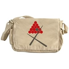 Snooker balls with cues grey and red Messenger Bag