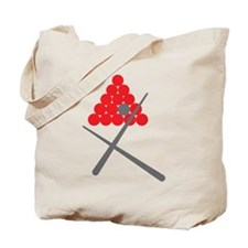 Snooker balls with cues grey and red Tote Bag