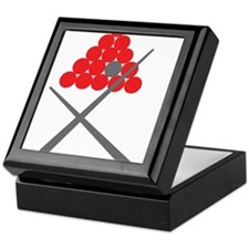 Snooker balls with cues grey and red Keepsake Box