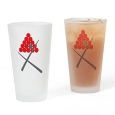 Snooker balls with cues grey and red Drinking Glas