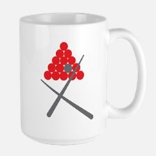 Snooker balls with cues grey and red Mugs