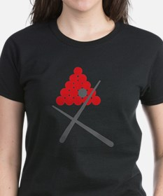 Snooker balls with cues grey and red T-Shirt