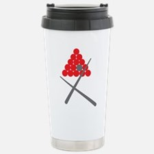 Snooker balls with cues grey and red Travel Mug