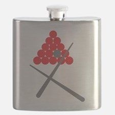 Snooker balls with cues grey and red Flask