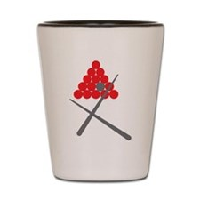 Snooker balls with cues grey and red Shot Glass