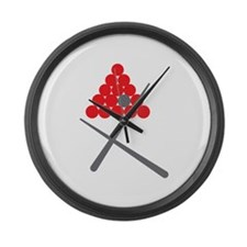 Snooker balls with cues grey and red Large Wall Cl