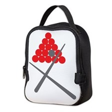 Snooker balls with cues grey and red Neoprene Lunc