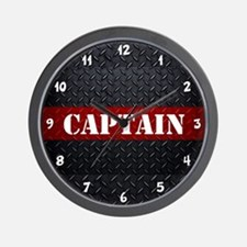 Fire Captain Diamond Plate Wall Clock