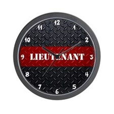 Fire Lieutenant Diamond Plate Wall Clock