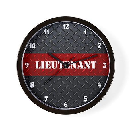 Fire Lieutenant Diamond Plate Wall Clock