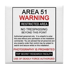 Area 51 Warning Tile Coaster