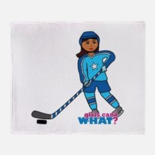 Hockey Player Girl Dark Throw Blanket