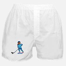 Hockey Player Girl Dark Boxer Shorts