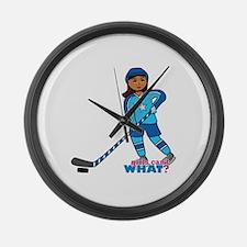 Hockey Player Girl Dark Large Wall Clock