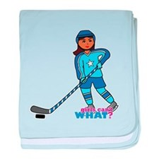 Hockey Player Girl Dark baby blanket