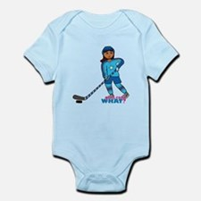 Hockey Player Girl Dark Infant Bodysuit