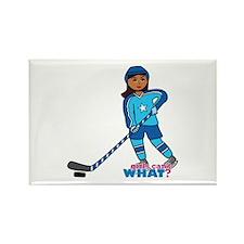 Hockey Player Girl Dark Rectangle Magnet