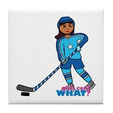 Hockey Player Girl Dark Tile Coaster