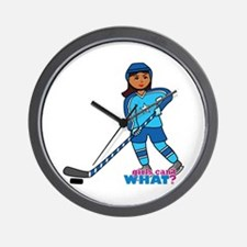 Hockey Player Girl Dark Wall Clock