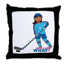 Hockey Player Girl Dark Throw Pillow