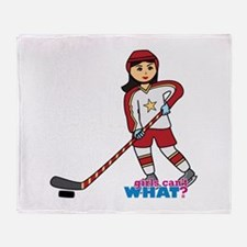 Hockey Player Girl Medium Throw Blanket
